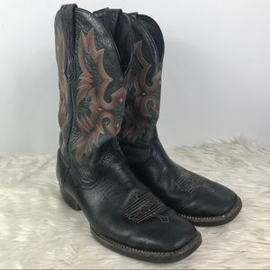 Ariat square toed leather stitching cowboy boots